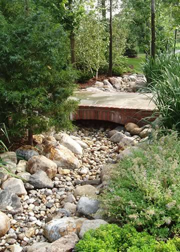 a former neighbor made a dry creek bed through her front yard under a wooden fence and through. Black Bedroom Furniture Sets. Home Design Ideas