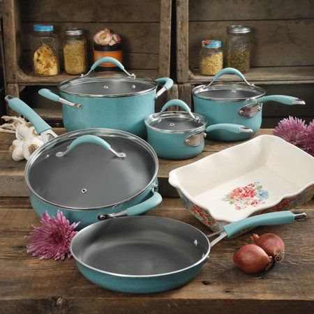 Mint The Pioneer Woman 10 Piece Ceramic Non-stick and Cast Iron Cookware Set