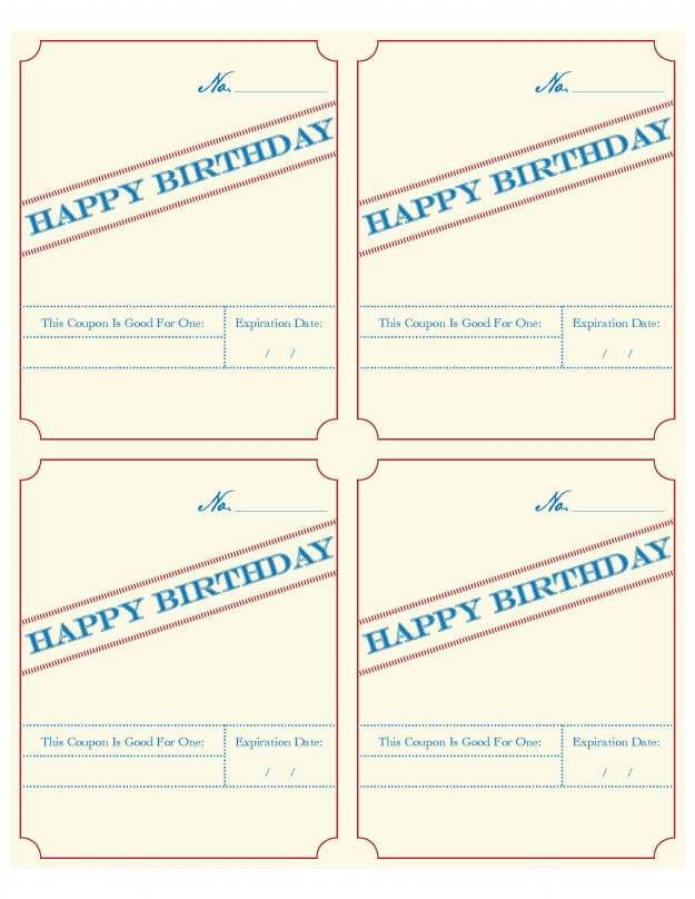 Birthday Coupon Fillable Birthday Coupons Coupon Template Coupons