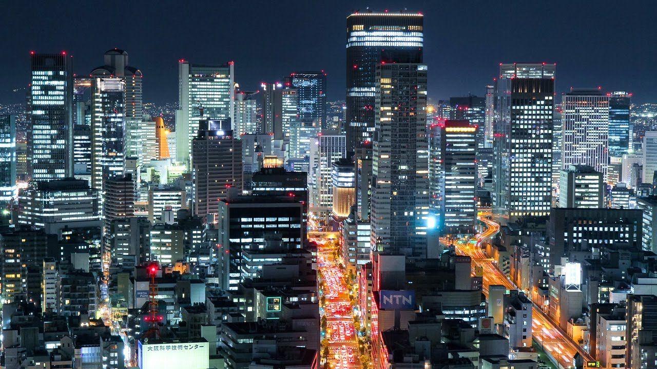 Glittering Osaka City Night Time Lapse Japan Osaka Japan Japan