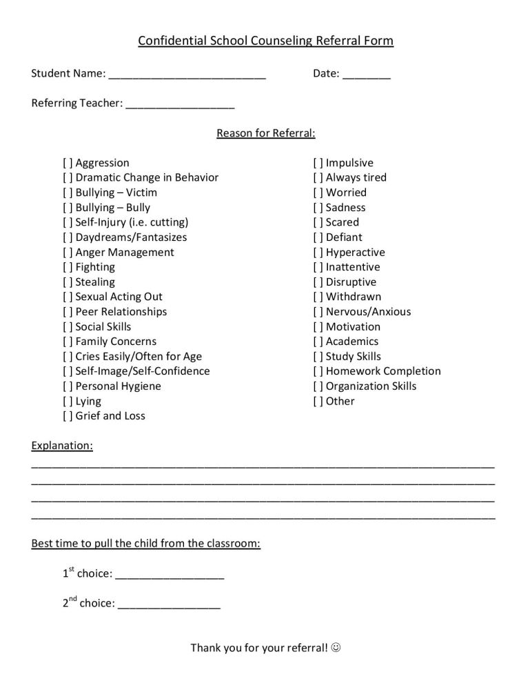 School Counseling Referral Form  School Counselling And School