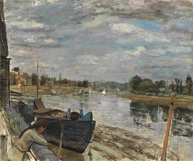 The Thames at Hammersmith - Carel Weight.  British 1908 - 1997  oil on canvas , 25 x 30 in. (63.5 x 76.2 cm.)