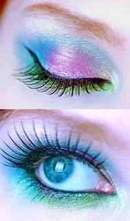 Eye Makeup Ideas: Blue & Pink Butterfly Eye Makeup Idea