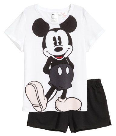 Brandneu großer Rabatt heiß-verkaufendes echtes Schlafshirt und Shorts | Weiß/Micky Maus | Damen | H&M DE ...