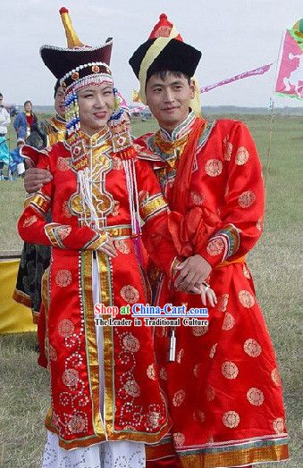 c5d21ae4090c8 Mongolian Wedding Dress and Hat Complete Set for Bride and Bridegroom