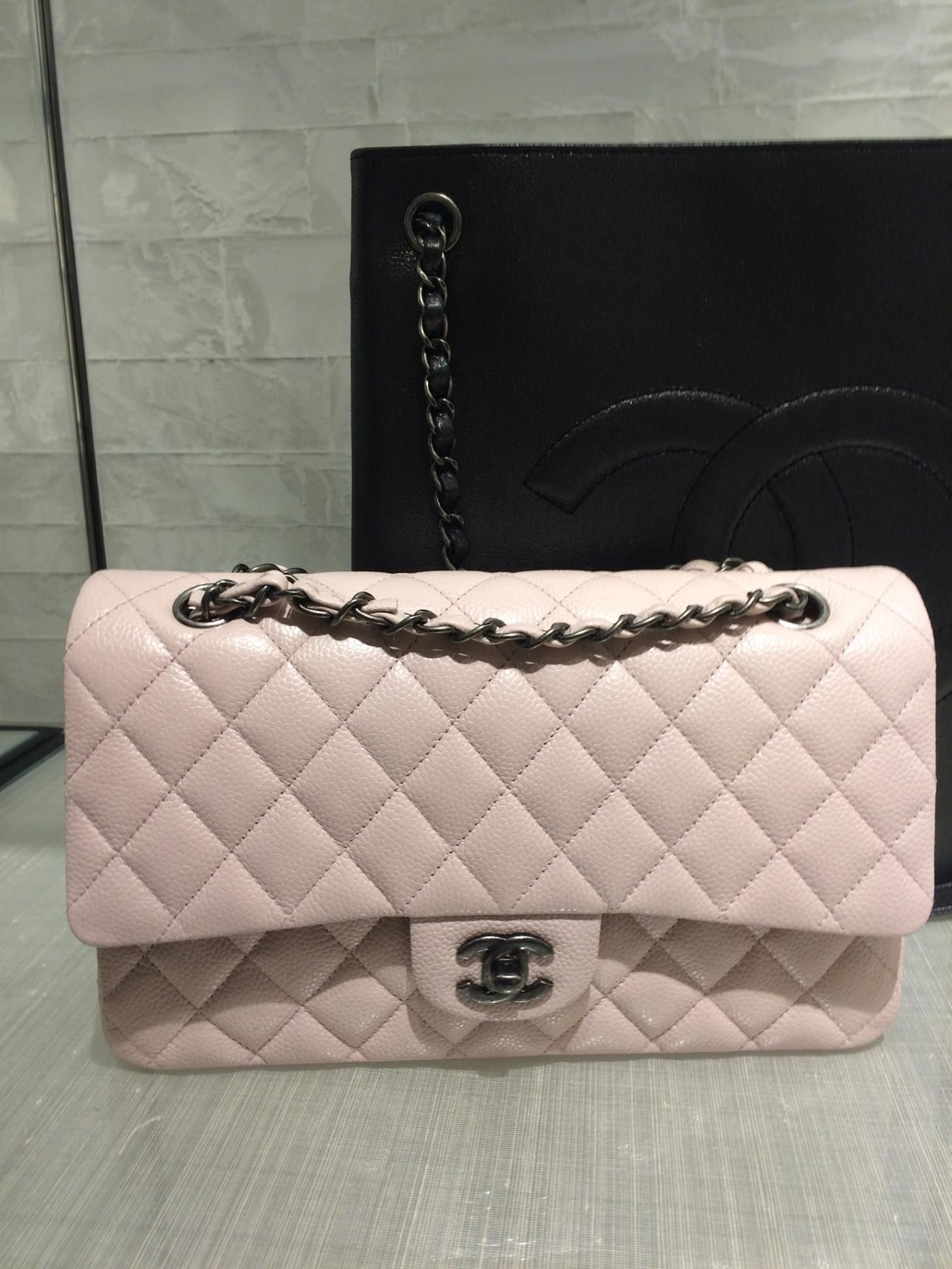 664c1ea73da8 Chanel Cruise 2016 Classic Medium Flap Bag in Soft Pink Caviar with  Ruthenium Hardware