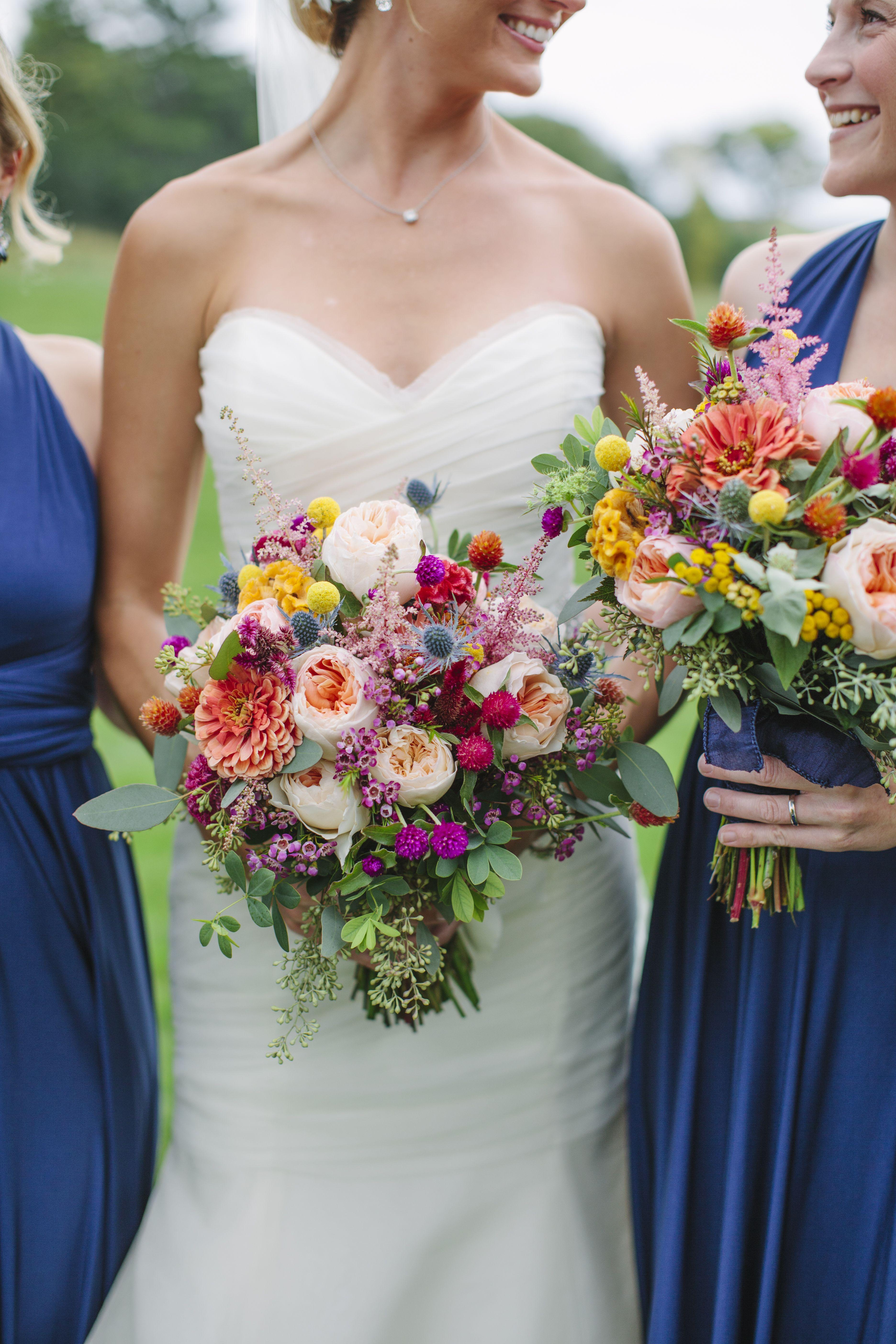 Colorfulyetrustic wildflower bouquets rustic wedding