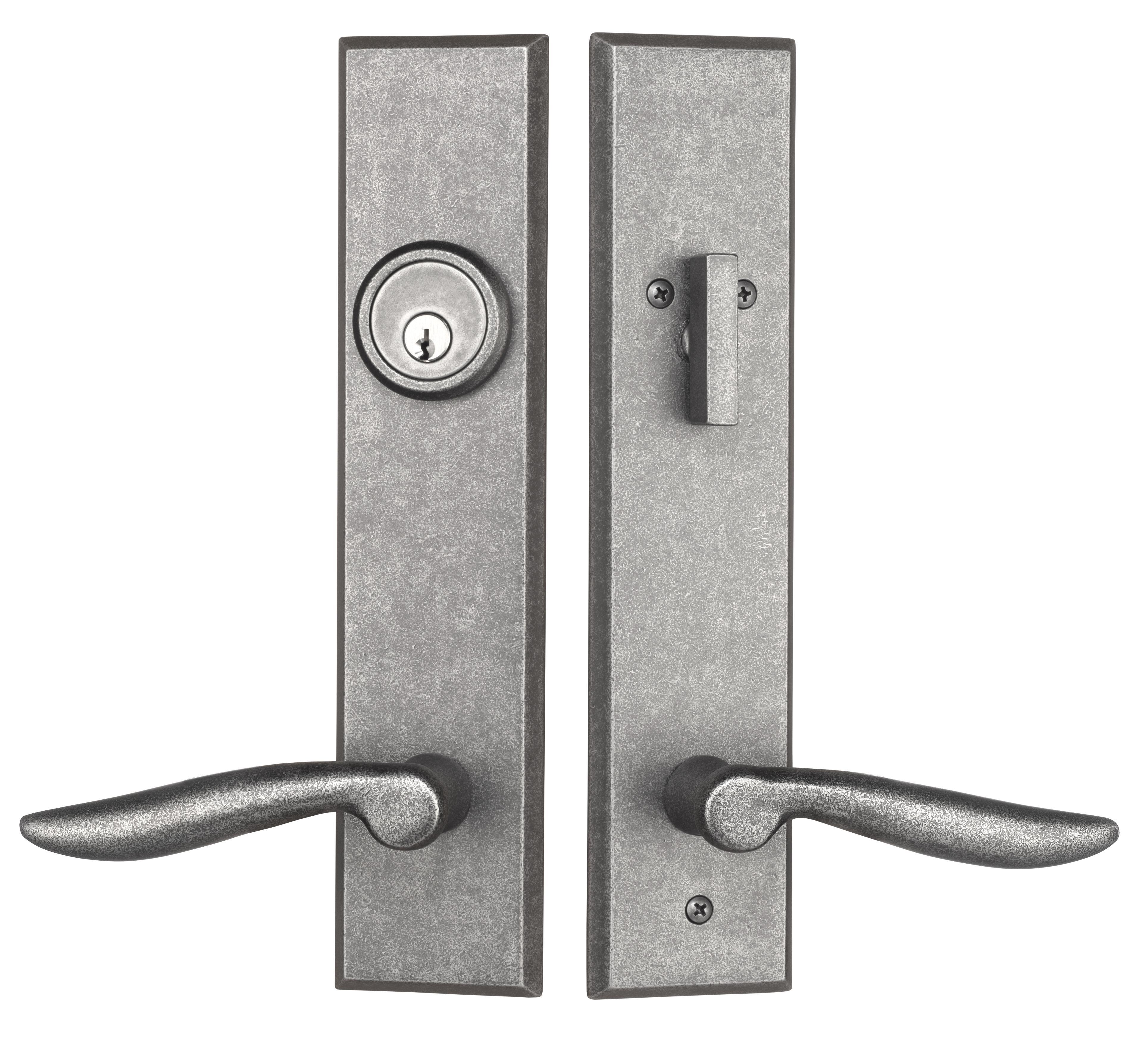 Rockwell Verano Premium Entry Door Handle Set With Dahli Lever In Distressed Nickel Finish Rockwell Security Entry Door Handles Door Handles Door Handle Sets