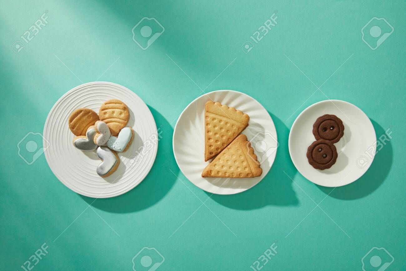 Top view of tasty cookies on plates on turquoise background , #Aff, #tasty, #view, #Top, #cookies, #background