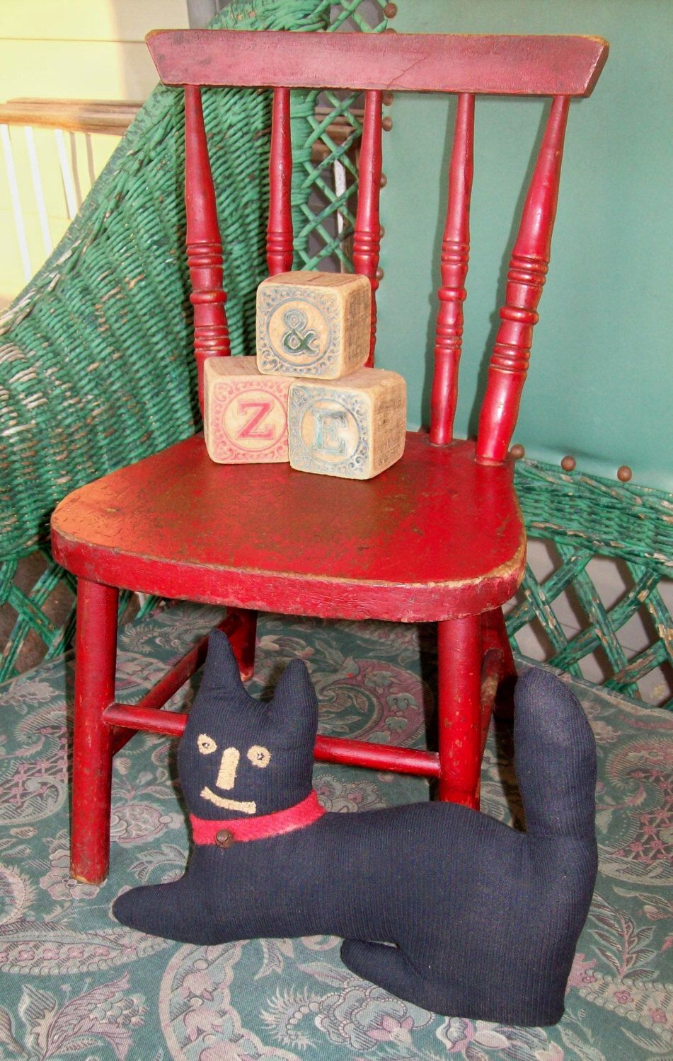 primitive vintage little red chair antique by treasuresbybetsy on
