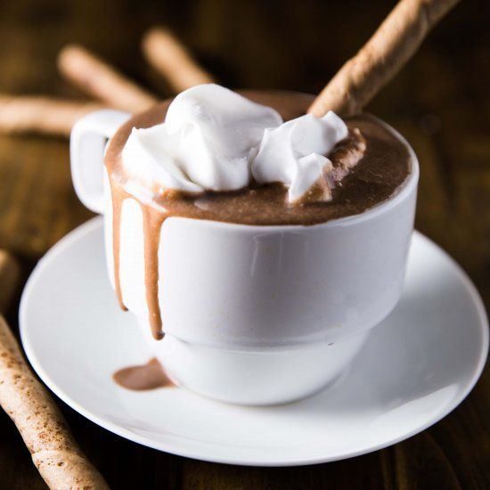 Velvety smooth and creamy vegan hot chocolate made with just a few ingredients and a couple easy steps!
