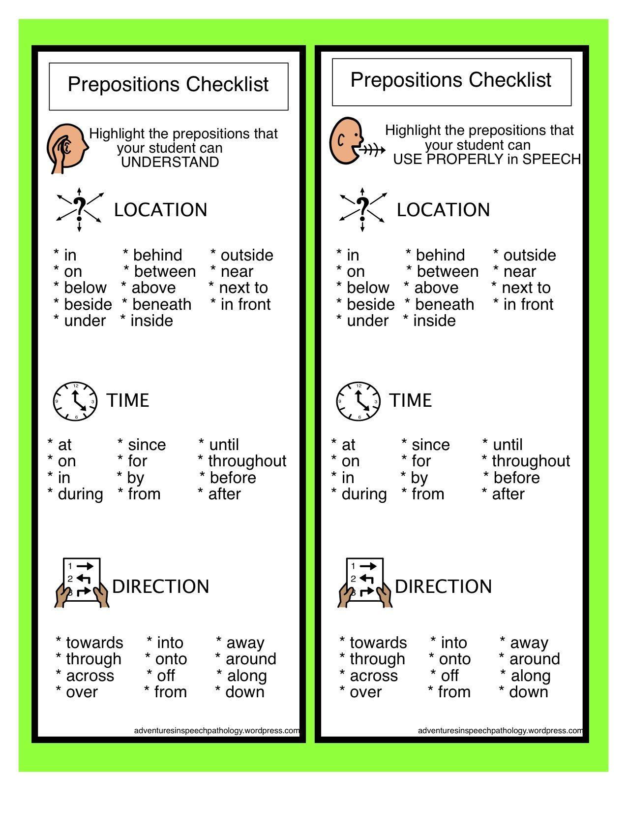 Preposition Checklist Freebie