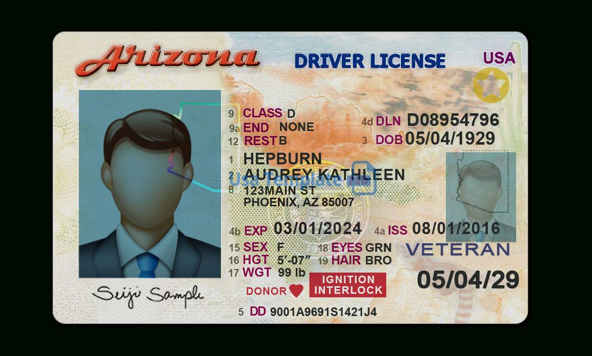 Arizona Driver License Template With Regard To Blank Drivers License Template Id Card Template Card Template Business Template