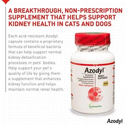 Vetoquinol Azodyl Kidney Health Supplement for Dogs & Cats