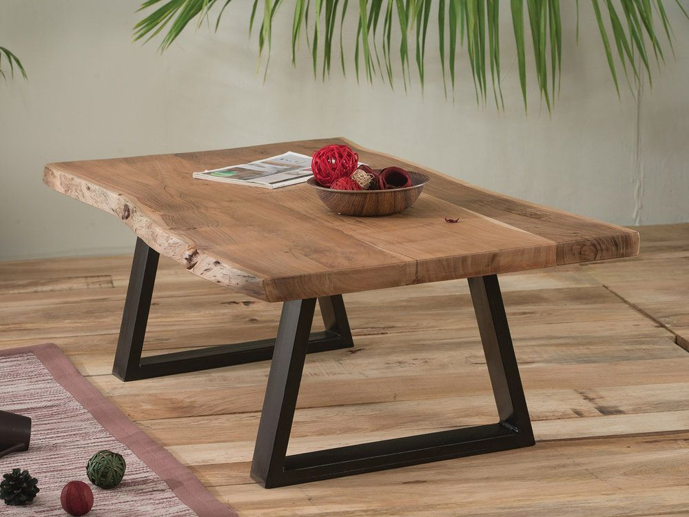 Dimension De La Tablelong 115 Cm Hauteur 40 Cm Prof 65cm Matiere Accacia Massif Et Pieds Metalmeuble A Monter Table De Salon Table Basse Bois Table Bois Brut