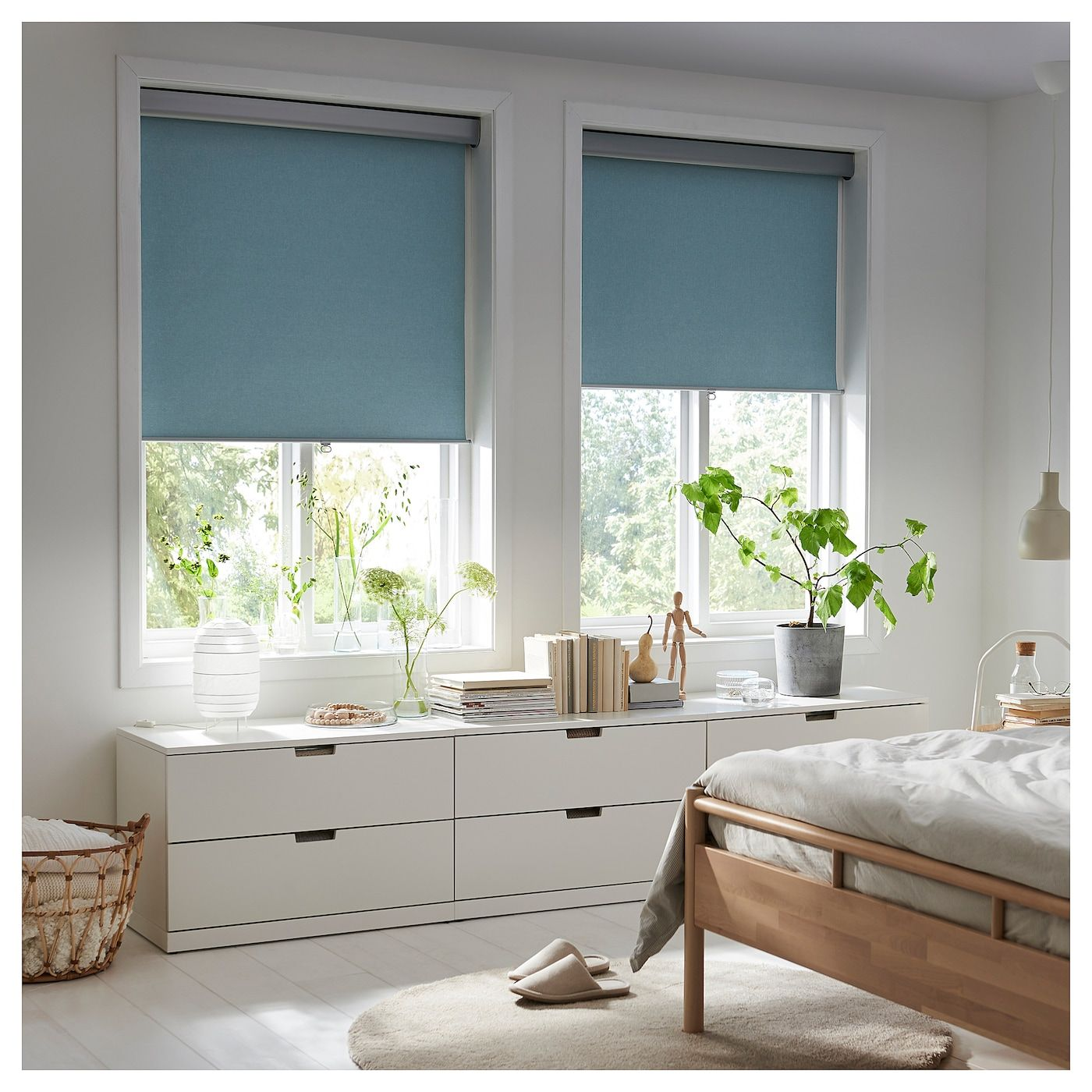 Tretur Blackout Roller Blind Light Blue Ikea In 2020 Cellular Blinds Blackout Roller Blinds Roller Blinds