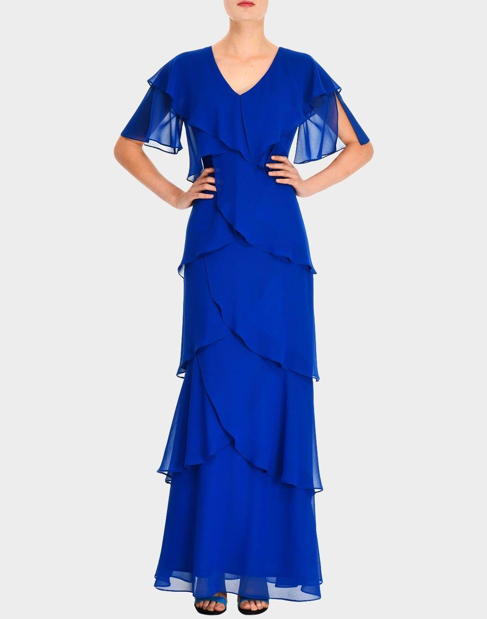 8b0a2346f Vestido largo de capas cruzadas azul de LAMUSA Woman para INVITADISIMA