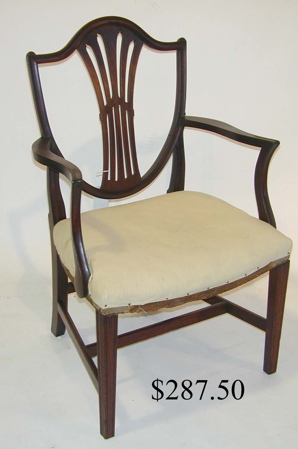 Hepplewhite Shield Back Chair Similar To Ours: Two End (with Arms) And 8