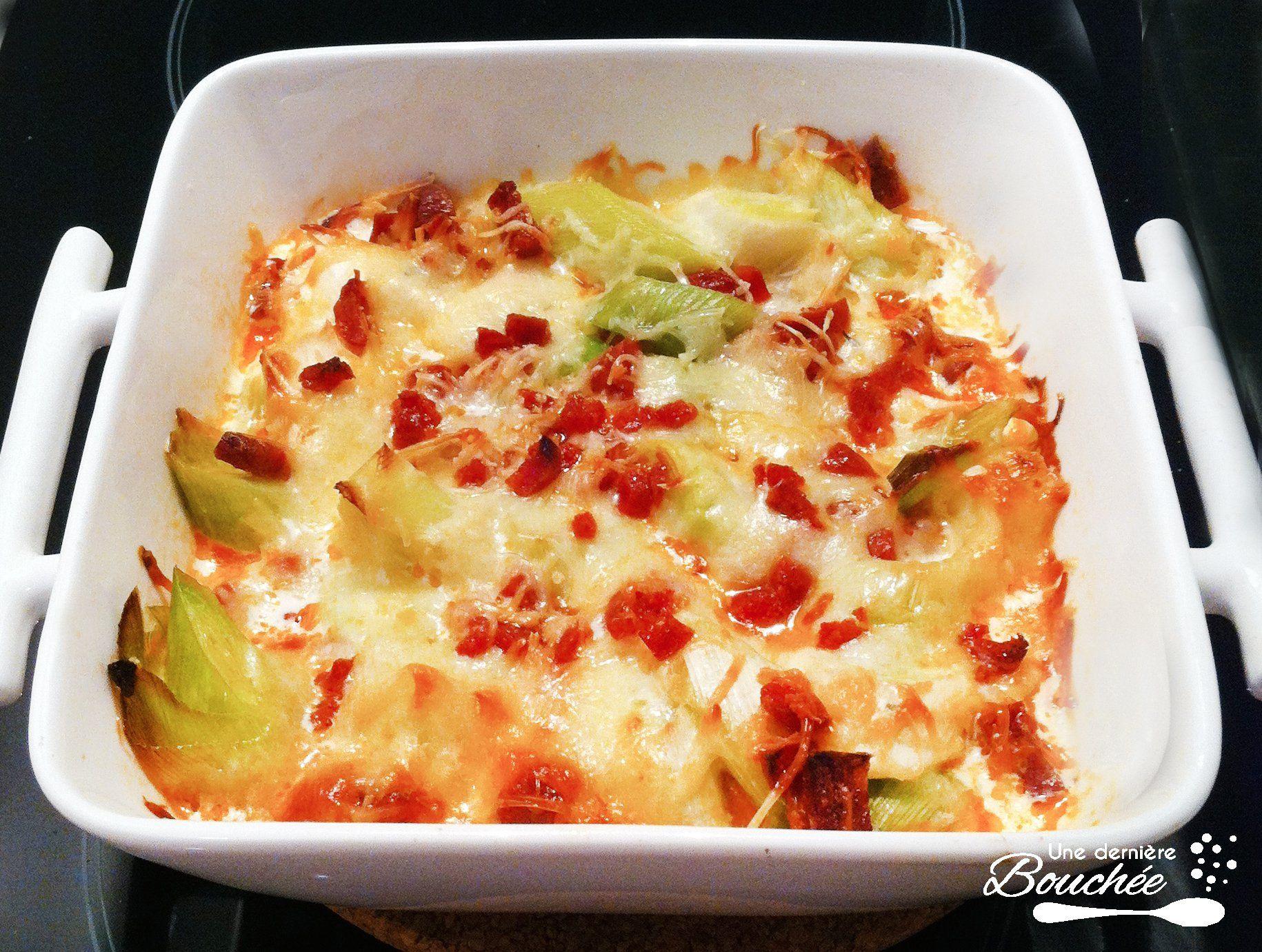 Recette Gratin poireaux fromage chorizo