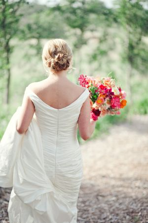 Bridal Gown With Back Ruching | photography by http://jnicholsphoto.com/ | floral design by http://rosehipflora.com/
