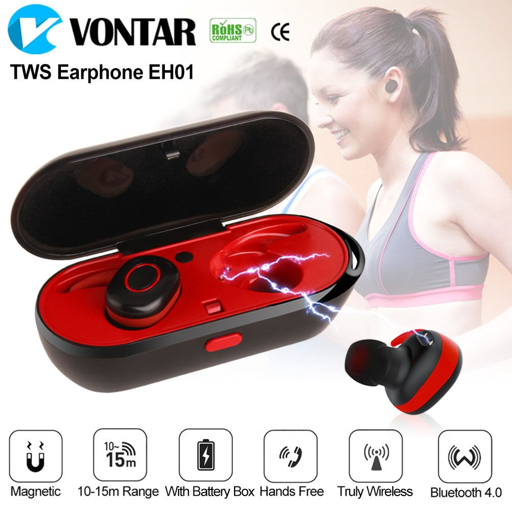 7bd7e8608d1 Big SALE VONTAR EH01 Wireless Earbuds Sweat Proof Twins earphone Portable  Bluetooth headphone with charging box Anti-Drop TWS Headset