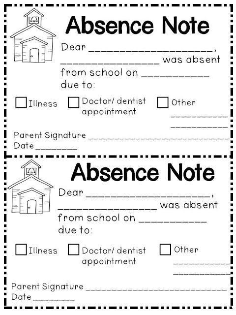 Jen\u0027s Kinder Kids Absence Notes Head start Pinterest Head - absence note