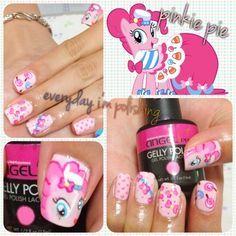 My Little Pony Pinkie Pie Nail Art