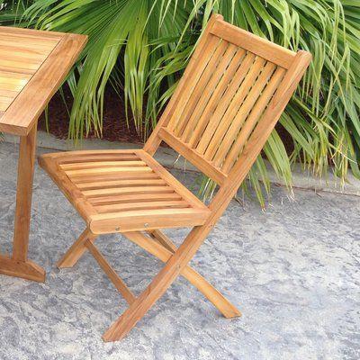 Bay Isle Home Everleigh Folding Teak Patio Dining Chair