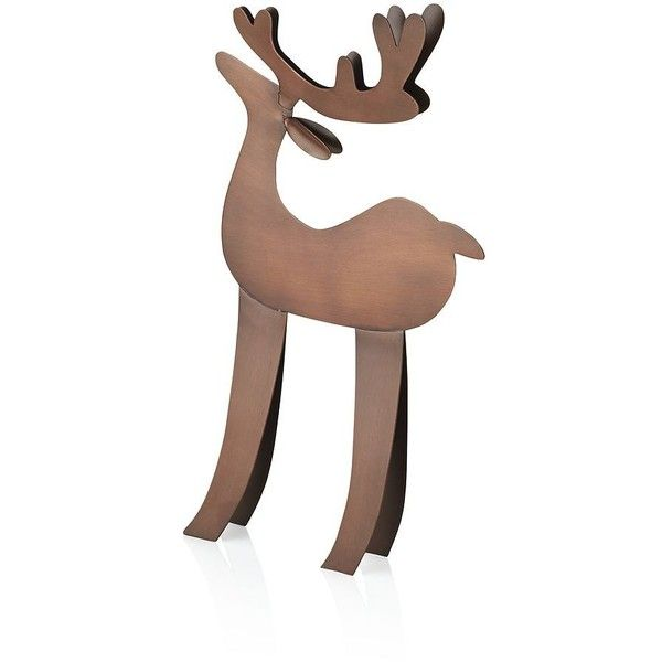 Crate & Barrel Standing Reindeer (715 UAH) ❤ liked on Polyvore featuring home, home decor, holiday decorations, modern home decor, modern home accessories, holiday decor and crate and barrel
