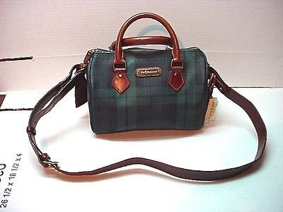 VINTAGE POLO RALPH LAUREN ROC   LEATHER GREEN BLACKWATCH PLAID HANDBAG  PREOWNED 1ac20bb80a388