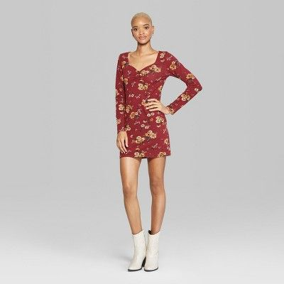 ef63c9aec292 Women s Floral Print Long Sleeve Ruched Front Knit Dress - Wild Fable  Burgundy Xxl