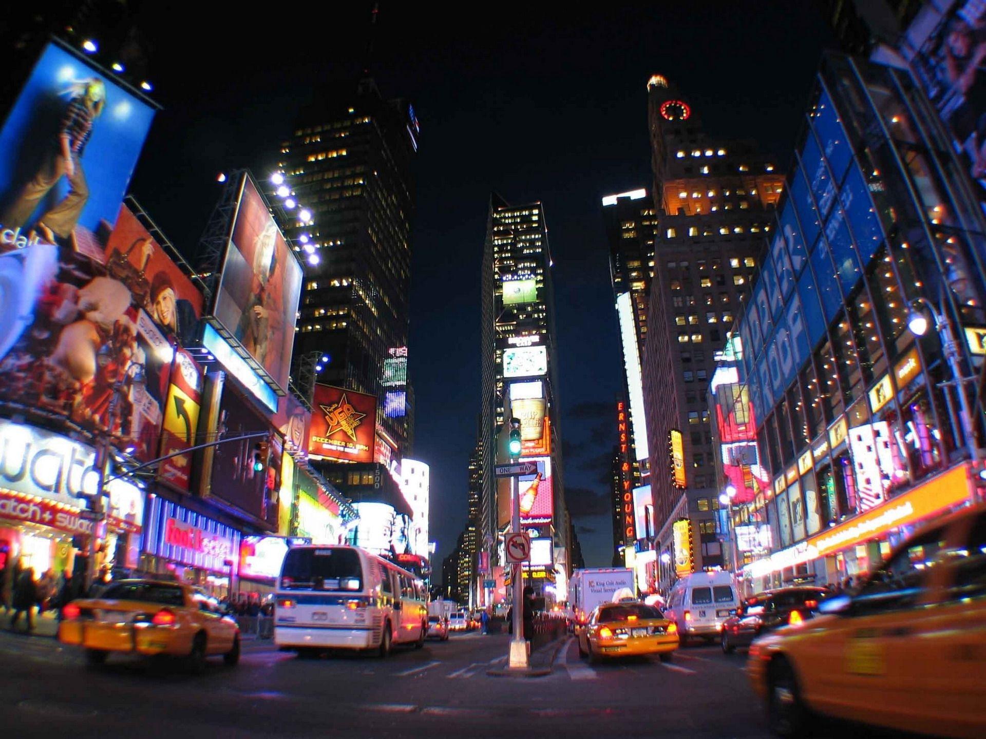 New York City Night Lights Times Square Times Square Cidade Viagens