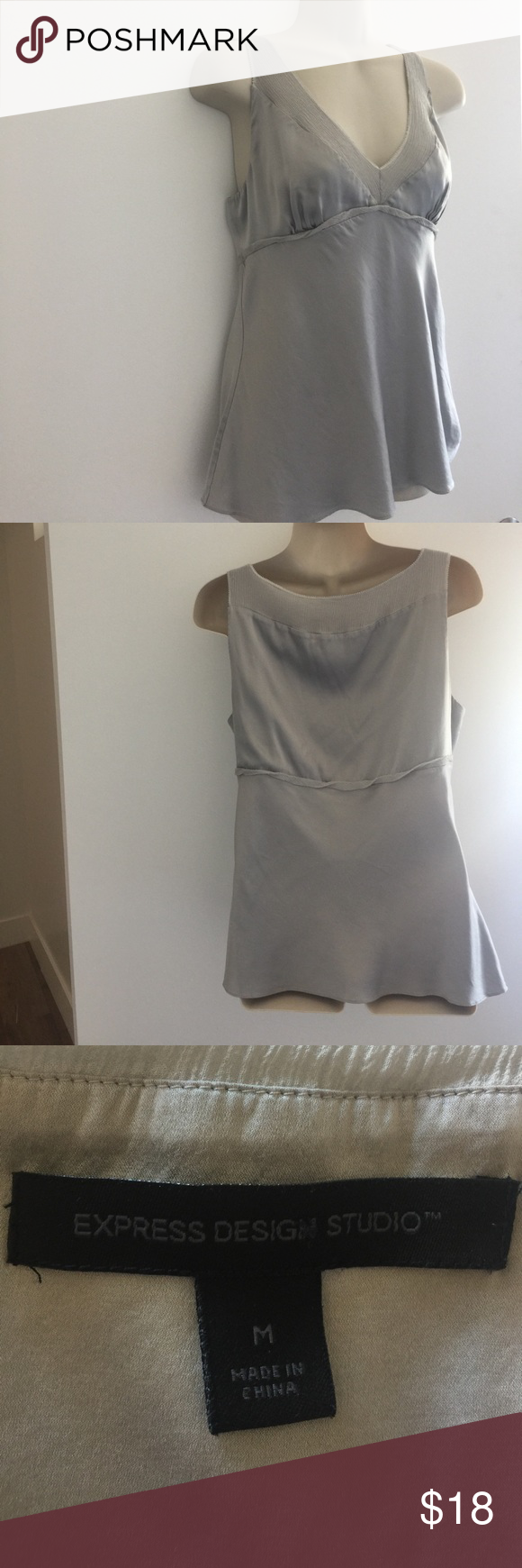 """Express Silver Silk Tank Perfect date night top! Looks great with a pair of dress jeans and wedges - or even under blazer or cardigan. Flattering fit. About 23"""" length and 15""""width across bust. Express Tops Tank Tops"""