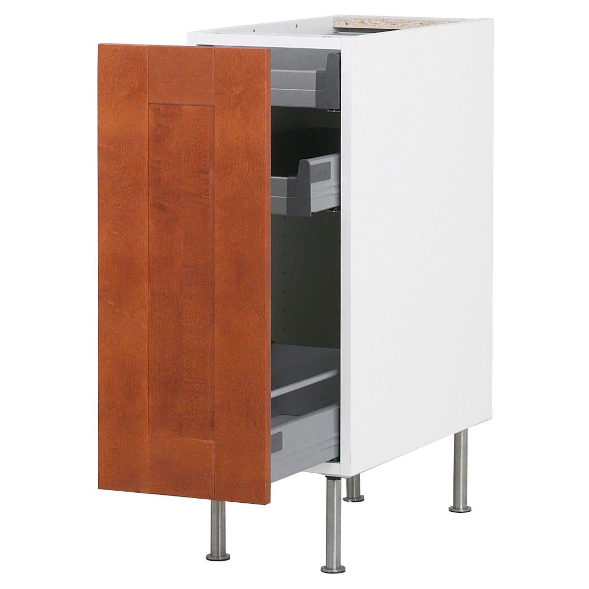 Ikea Kitchen Birch akurum base cabinet with pull-out storage - birch effect, Ädel