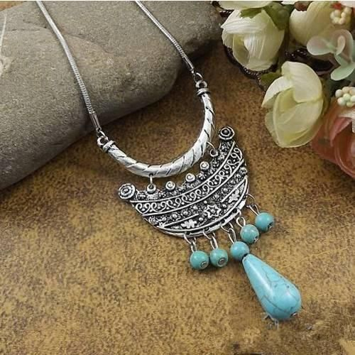 20 style Vintage Women/'s Tibetan Silver Turquoise Beads String Pendant Necklace