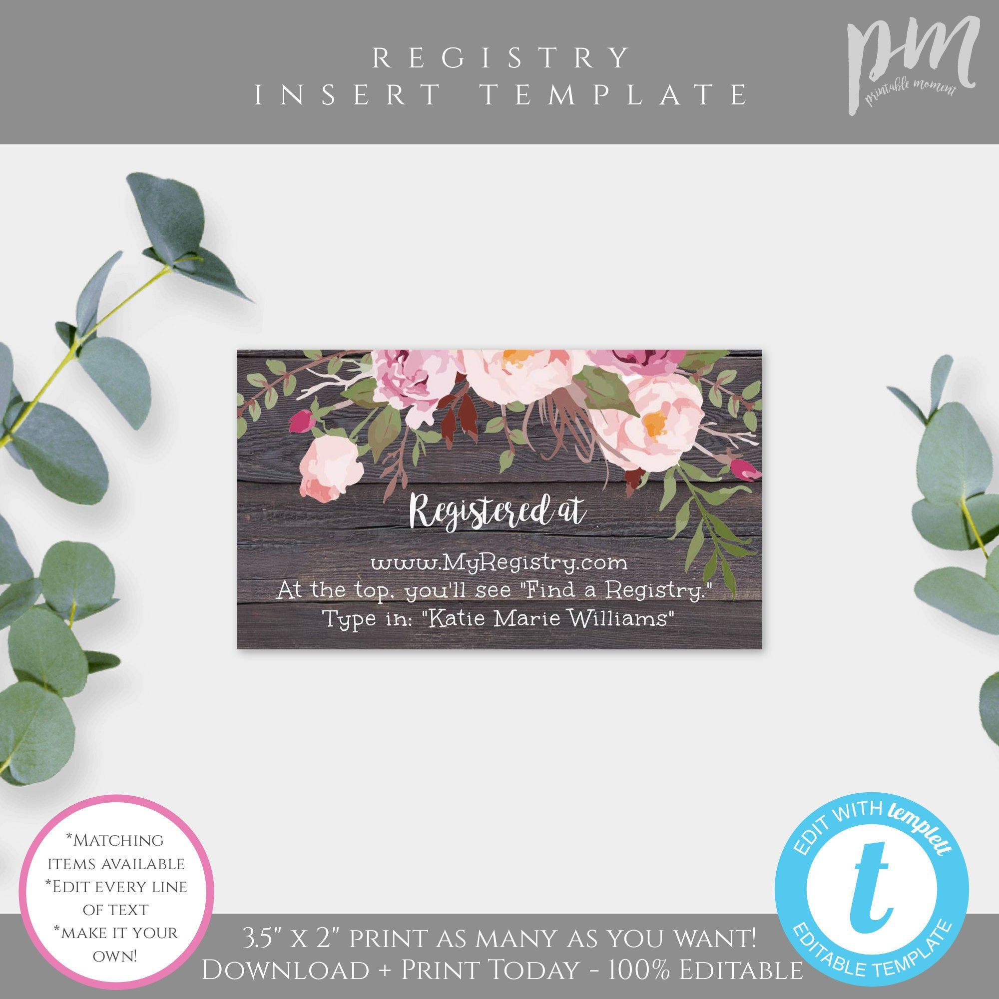 Rustic Floral Registry Card Insert Template Baby Shower Etsy In 2020 Registry Cards Baby Shower Printables Baby Shower Etsy