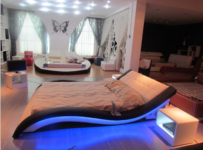 Mobili camera da letto moderna Genuino letto in pelle letto ...