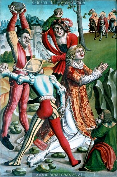 The Stoning of St Stephen 1510 Men wearing hoses, puffed sleeves with slashing and under tunics with jackets.