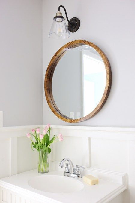 Bathroom Makeovers For Less round wood mirror diy | farmhouse mirrors, rustic modern and frame