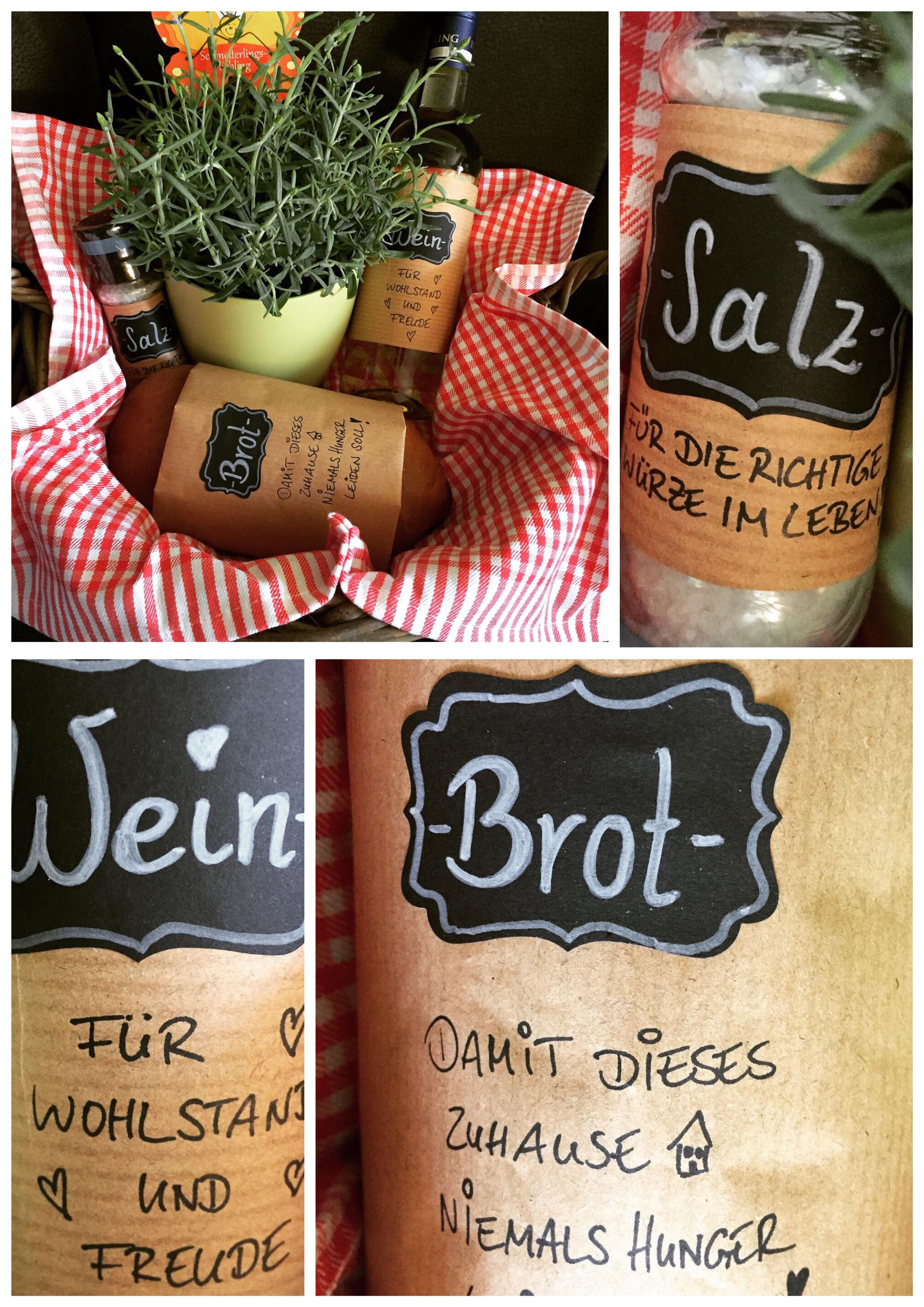 Geschenk Umzug Einweihung Haus Wohnung Salz Wein Brot