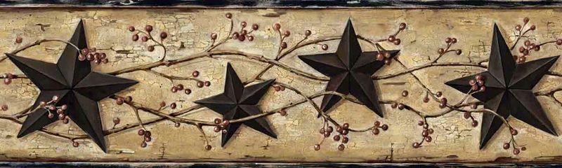Black Barn Star Wallpaper Border, FFR65362B Berry Garland Border