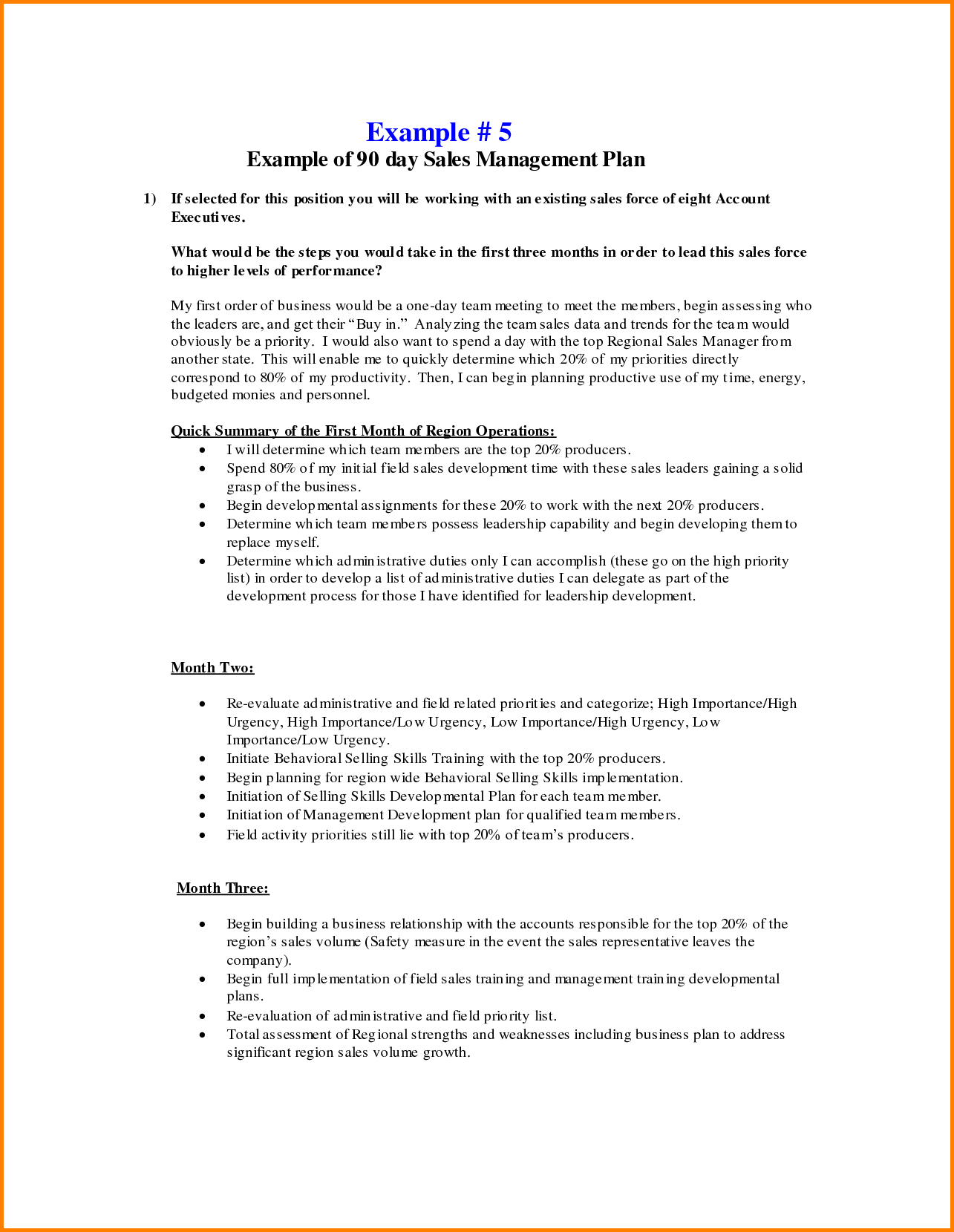 30 60 90 Day Business Plan Template Business plan