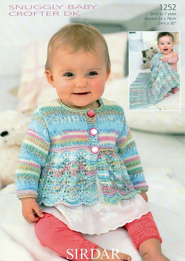 Blanket and Scalloped Edge Cardigan in Sirdar Snuggly Baby Crofter ...
