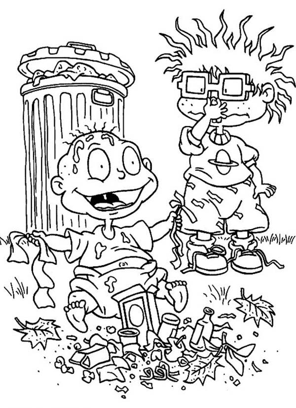 Chuckie Find Tommy Is So Smeely Because Playing Garbage In Rugrats Coloring Page Color Luna In 2020 Coloring Pages Rugrats Coloring Pictures