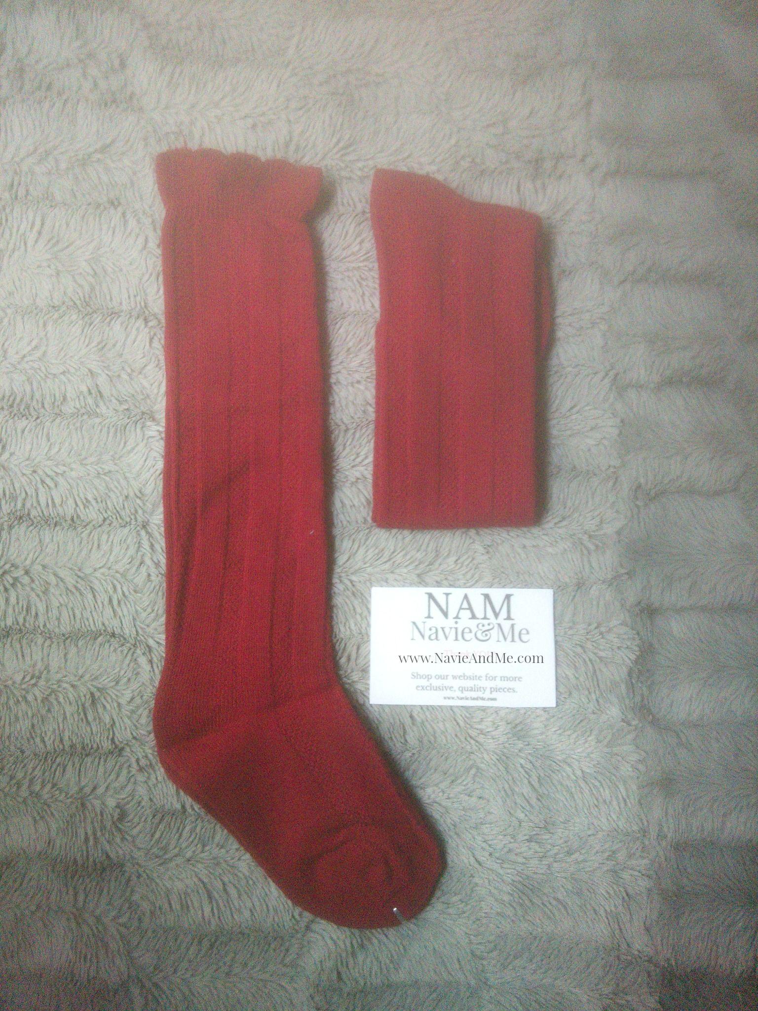 Burgundy Knee High Socks Textured Toddler Knee Highs