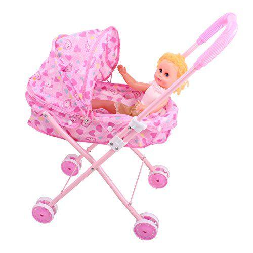 Lollipop Pretend Play Doll Crib Pink Hearts