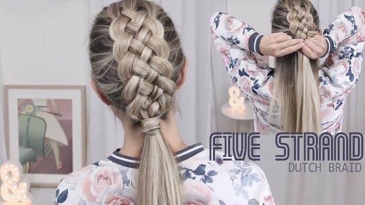 Beautiful Five (5) Strand Dutch Braid Tutorial - How to DIY - YouTube -