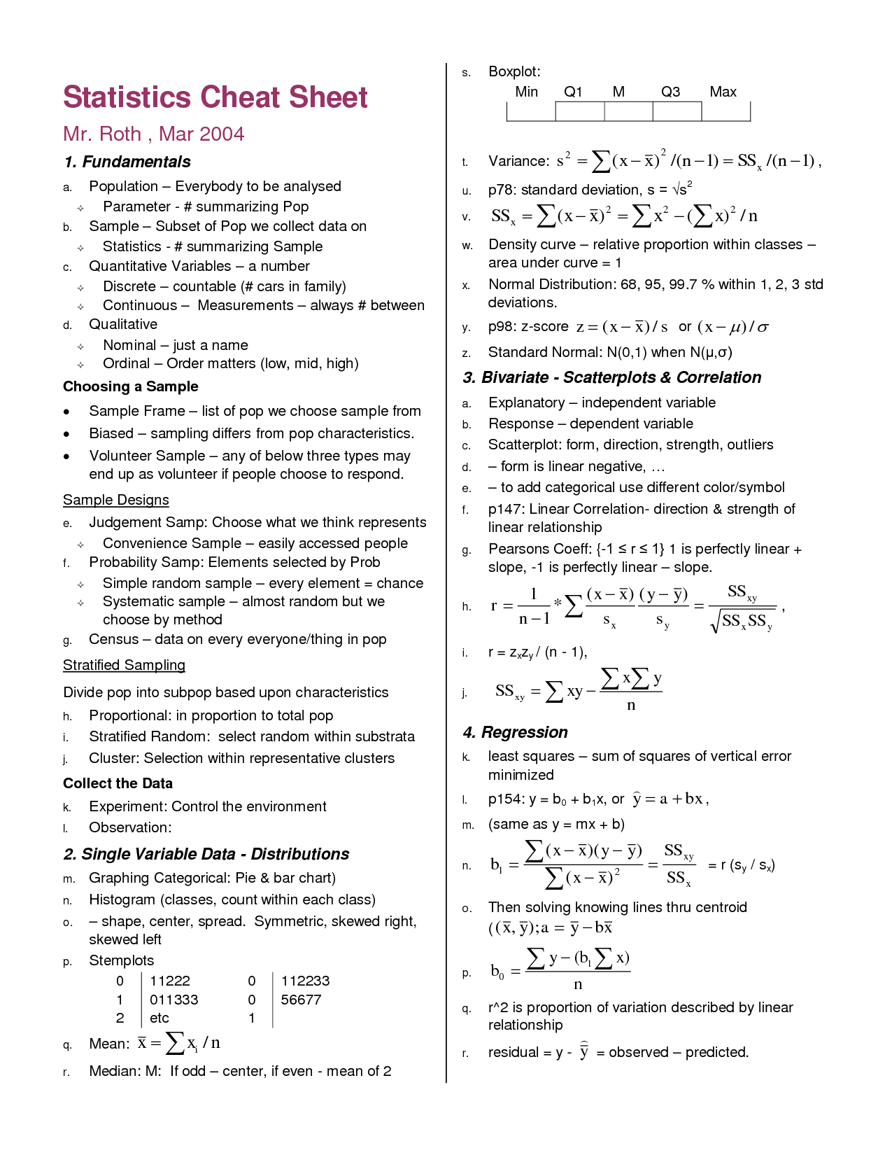 23 Awesome statistics formulas cheat sheet | high school statistics