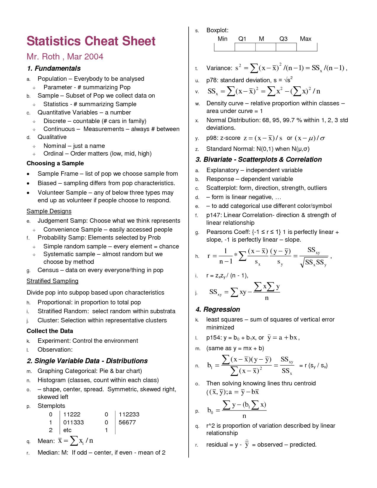 23 Awesome Statistics Formulas Cheat Sheet