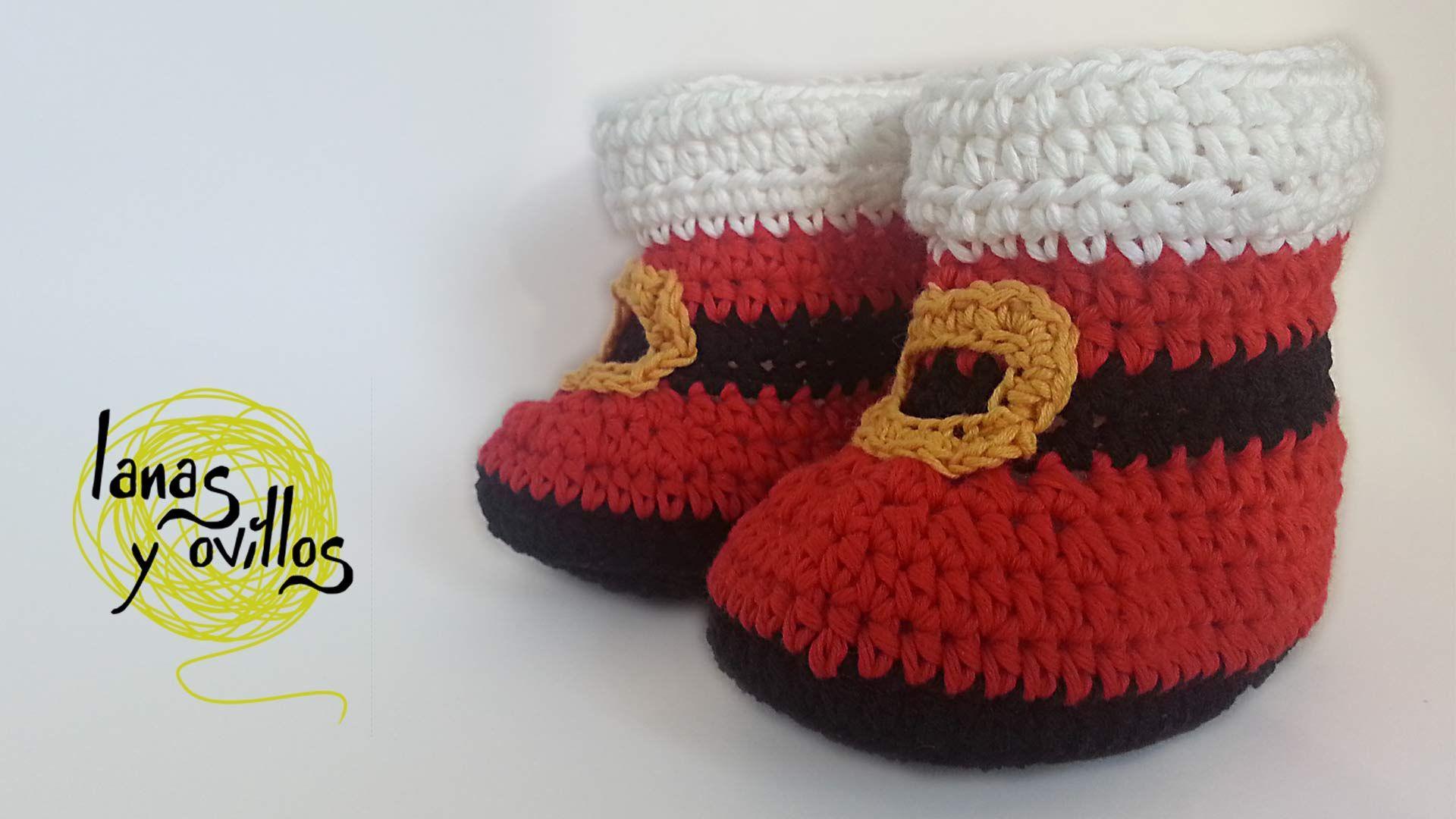 BOTAS BEBE SANTA CLAUS   Lanas y ovillos   Zapatos Bebe Crochet ...